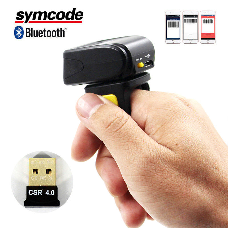 Portable Wearable Ring Barcode Scanner / Mini Barcode Reader Screen Scanning
